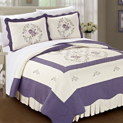 Roses Quilted 3 Piece Coverlet Set Size: Queen, Color: Lilac