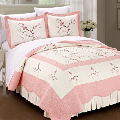 Cherry Blossom Quilted 3 Piece Coverlet Set Size: Queen, Color: Pink