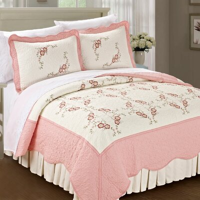 Chrysanthemum Quilted 3 Piece Coverlet Set Color: Light Pink, Size: Queen
