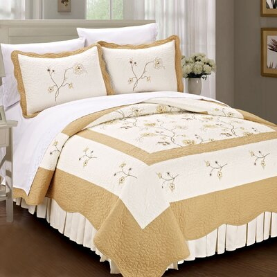 Spring Flowers Quilted 3 Piece Coverlet Set Size: King, Color: Gold