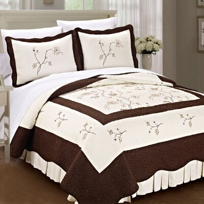 Spring Flowers Quilted 3 Piece Coverlet Set Size: Queen, Color: Chocolate