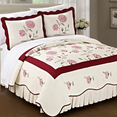 Sun Flowers 3 Piece Coverlet Set Size: King, Color: Burgundy