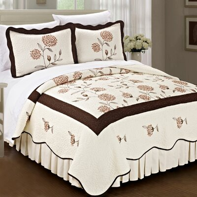 Sun Flowers 3 Piece Coverlet Set Color: Chocolate, Size: Queen