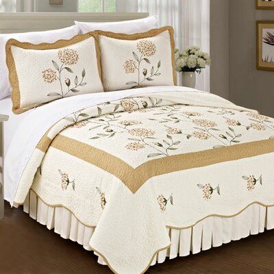 Sun Flowers 3 Piece Coverlet Set Color: Gold, Size: Queen