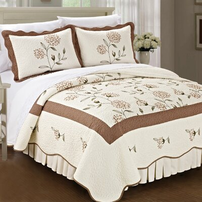 Sun Flowers 3 Piece Coverlet Set Color: Taupe, Size: Queen