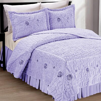 Ribbon Embroidered Faux Fur 3 Piece Bedspread Set Size: King, Color: Lilac
