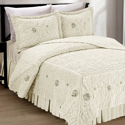 Ribbon Embroidered Faux Fur 3 Piece Bedspread Set Size: Queen, Color: Ivory