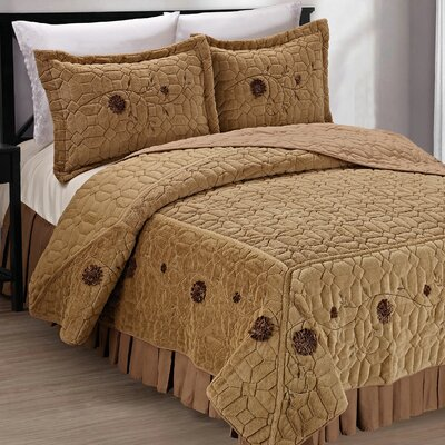 Ribbon Embroidered Faux Fur 3 Piece Bedspread Set Size: King, Color: Light Camel
