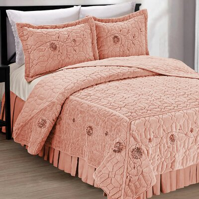 Ribbon Embroidered Faux Fur 3 Piece Bedspread Set Size: King, Color: Salmon