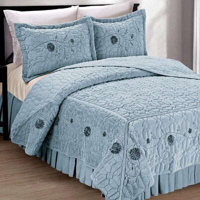 Ribbon Embroidered Faux Fur 3 Piece Bedspread Set Size: King, Color: Light Blue