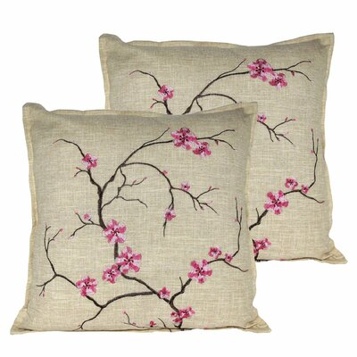 Cherry Blossom Throw Pillow Color: Pink