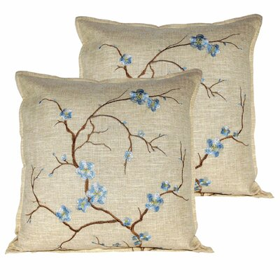 Cherry Blossom Throw Pillow Color: Light Blue