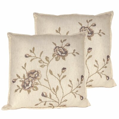 Rose Throw Pillow Color: Taupe