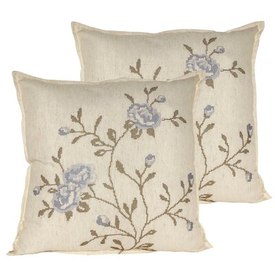 Rose Throw Pillow Color: Gray Blue