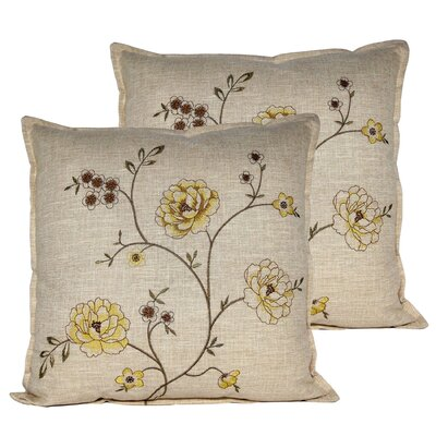 Spring Flower Throw Pillow Color: Gold