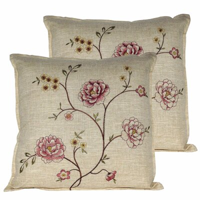 Spring Flower Throw Pillow Color: Burgundy
