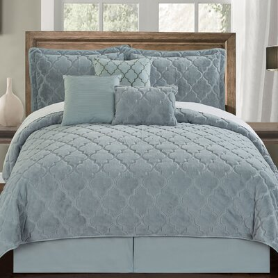 Ogee 6 Piece Comforter Set Color: Bluish Gray, Size: King
