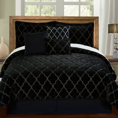 Ogee 6 Piece Comforter Set Color: Black, Size: Queen