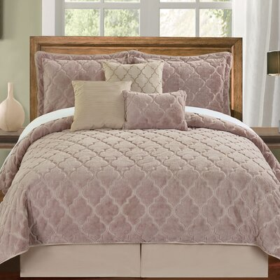 Ogee 6 Piece Comforter Set Color: Taupe, Size: Queen