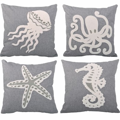 Sea World 4 Piece Embroidery Throw Pillow Set