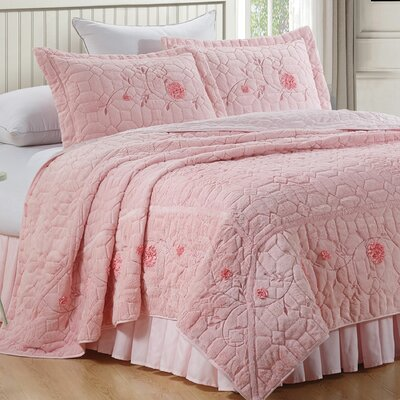 Ribbon Embroidered Faux Fur 3 Piece Bedspread Set Size: King, Color: Light Pink