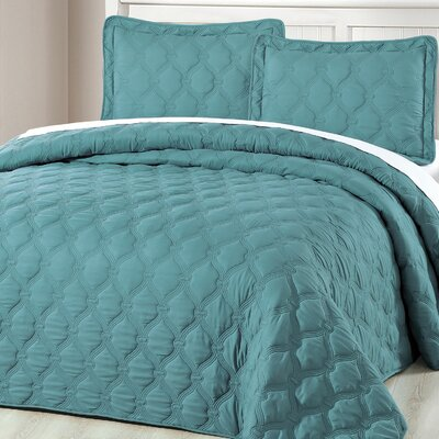 Bradly 3 Piece Coverlet Set Color: Teal, Size: Twin