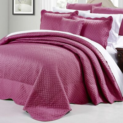 Matte Satin 4 Piece Matelass� Set Color: Purple, Size: Queen