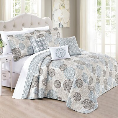 Nordmeyer Medallion Printed Quilted 6 Piece Reversible Coverlet Set Size: Queen