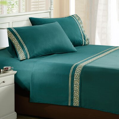 Jarrow Embroidered Sheet Set Color: Ashley Blue, Size: Twin