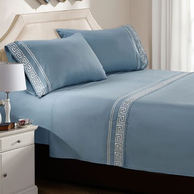 Jarrow Embroidered Sheet Set Color: Dark Teal, Size: Twin