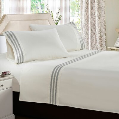 Alexander Embroidered Sheet Set Size: Twin, Color: Ivory