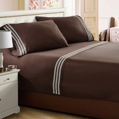 Alexander Embroidered Sheet Set Size: Twin, Color: Chocolate