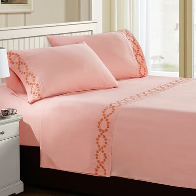 Shelton Embroidered Sheet Set Color: Rose Quartz, Size: Twin