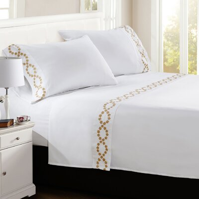 Shelton Embroidered Sheet Set Size: Queen, Color: White