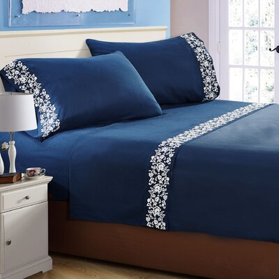 Luciana� Embroidered Sheet Set Color: Navy Blue�, Size: Queen