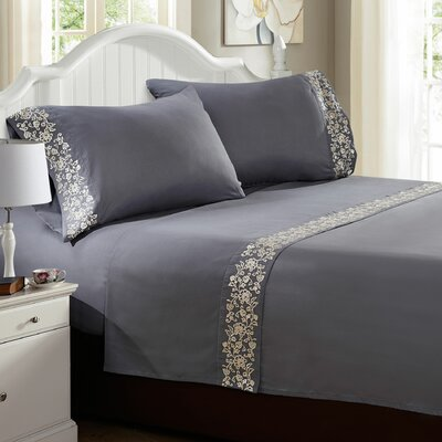Luciana� Embroidered Sheet Set Size: Twin, Color: Silver Gray
