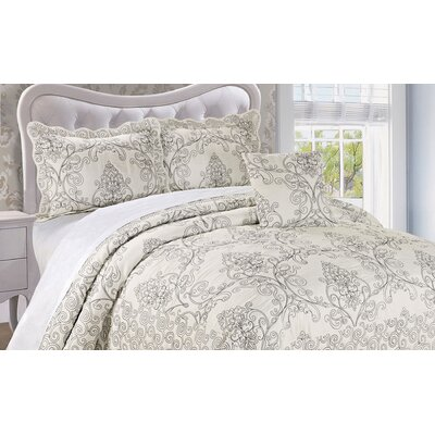 Audrina Damask 4 Piece Coverlet Set Color: Antique White, Size: Queen