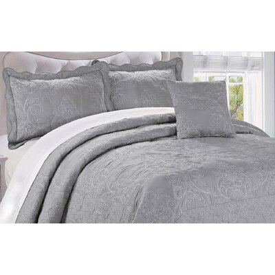 Audrina Damask 4 Piece Coverlet Set Color: Ash Gray, Size: King