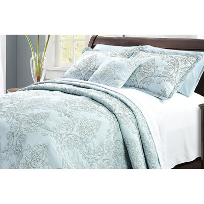 Audrina Damask 4 Piece Coverlet Set Color: Blue, Size: King