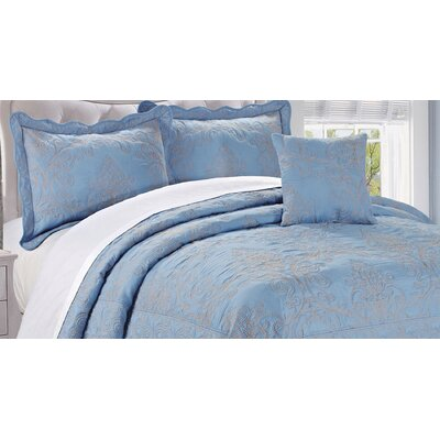 Audrina Damask 4 Piece Coverlet Set Color: Forget Me Not, Size: Queen