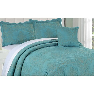 Audrina Damask 4 Piece Coverlet Set Color: Teal, Size: King