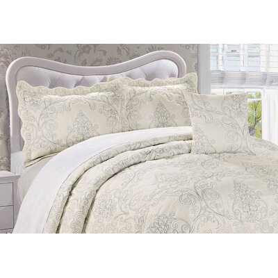 Audrina Damask 4 Piece Coverlet Set Color: White, Size: King