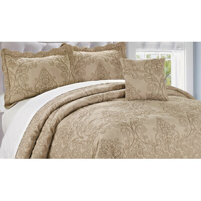 Audrina Damask 4 Piece Coverlet Set Color: Incense, Size: Queen