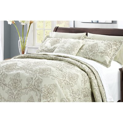 Audrina Damask 4 Piece Coverlet Set Color: Light Green, Size: Queen
