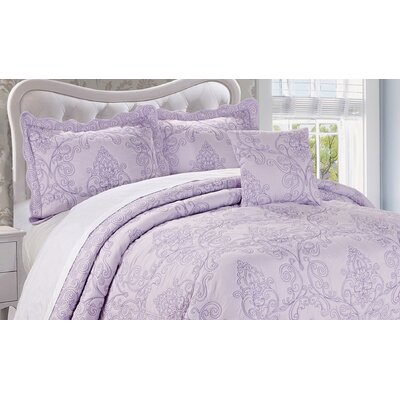 Audrina Damask 4 Piece Coverlet Set Color: Lavender Fog, Size: King