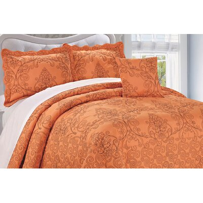 Audrina Damask 4 Piece Coverlet Set Color: Nectarine, Size: Queen