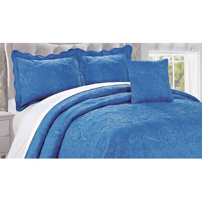 Audrina Damask 4 Piece Coverlet Set Color: Palace Blue, Size: King