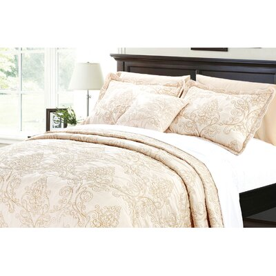 Audrina Damask 4 Piece Coverlet Set Color: Salmon, Size: Queen