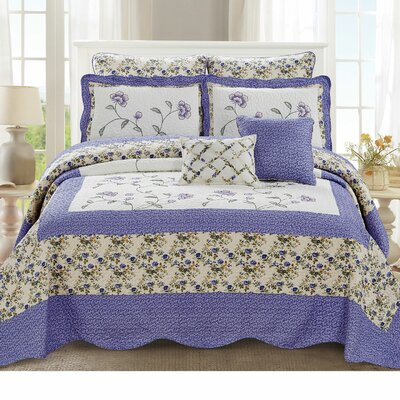Maribel Traditional 7 Piece Quilt Set Color: Lilac, Size: King