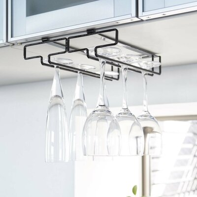 Demasi Hanging Wine Glass Rack Finish: Black